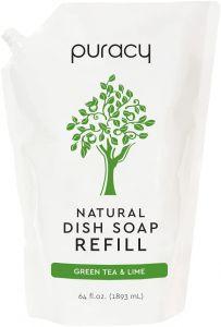 Puracy | Natural Dish Soap Refill, Green Tea & Lime - 64 Ounce